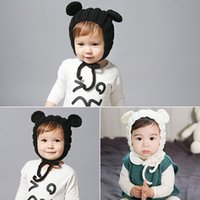 bear novel - Novel Kids Boys Girls Baby Winter Warm Solid Color Lace Up Cap knitted Crochet Lovely Bear Ear Belt Beanie Hat Accessories