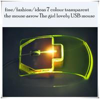 Wholesale fine fashion ideas colour transparent the mouse arrow The girl lovely USB mouse