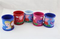 Wholesale 12pcs Children Peppa Pig Tooth brushing Cup Tea Cup ml Double deck Cup High Quality PVC PP Color