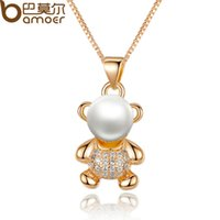 animal jewelry - Bamoer K Gold Plated Animal Bear Necklaces Pendants with Paved Piece Micro AAA CZ Cubic Zircon For Women Jewelry JIN021