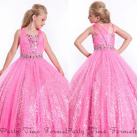 Cheap Coral Girls Pageant Dresses Sequin Flower Girl Dress For Weddings Little For Girls Gowns 2015 Toddler Ball Gown Spaghetti Straps Sh00105