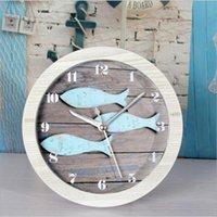 antique garden tables - Retro High Quality Round Continental Mediterranean garden Three Fish desk table clock alarm clock creative clock wooden clock