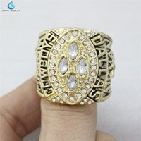 Cheap 1993 Super Bowl XXVIII Cowboys Championship Ring Rhinestone crystal gold pleated ring for men