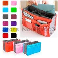 Wholesale 9 Colors New Women Travel Organizer Bag Insert Handbag Purse Large liner Cosmetic Storage Bag Pouch