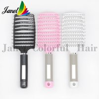 Wholesale New design Plastic vent scalp curved hair brush with Nylon pins rubber handle Dyed Hair comb salon styling tools massage Brush