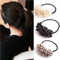 beaded hair ties - Hot New Hair Accessories Pearl Rubber bands Headwear Hair Jewelry For Women Elastic Hair bands Rope Beaded Hair Tie