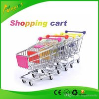 Wholesale Novelty Cute shopping Cart Mobile Phone Holder Pen Holder Mini Supermarket Handcart Shopping Utility Cart Phone Holder