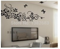 aestheticism art - DIY Removable Art Vinyl Wall Stickers Decor Mural Decal Children room Happy flower vine Butterfly BLACK aestheticism AY954
