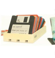 Wholesale 100SET HHA254 Floppy Disk Silicone Coasters Cup Mug Mat Holder Hot Cold Retro Gift set