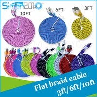 Wholesale 10ft ft FT Noodle Flat Braid Charging Cord Sync Fabric Micro Wire USB Data Woven Cable SamsungS5 S6 Note HTC