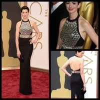 anne hathaway picture - Anne Hathaway Black Long Mermaid Celebrity Dresses Halter Crystals Backless Pageant Party Gowns Slit Vestidos de Fiesta