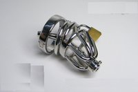 Cheap Latest Small-Size Male stainless steel Cock Cage Chastity Art Device with thick Catheter and non-slip ring  Cock ring BDSM Sex Stoys WG260