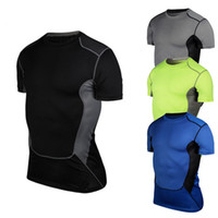 designer tights - 2015 Designer Men Compression shirt plus size tights running cycling workout gear bodybuilding clothes jersey short sleeves gym clothing