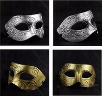 Wholesale Men s retro Greco Roman Gladiator masquerade masks Vintage Golden Silver Mask silver Carnival Mask MenHalloween Costume Party Mask NEW