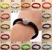 Wholesale Hot sell pu magnetic buckle bracelet fashion weaving diamond bracelet Charm Bracelets shuoshuo6588