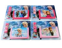 Establece congelada Relojes y monedero de los niños juguetes de moda Anna Elsa caramelo del cuarzo de la historieta linda del muchacho encantador Mujer señora de la muchacha niños de la venta caliente