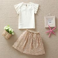 Cheap new 2015 baby clothing summer Girls Sequins collar T-shirt + princess golden sequin skirts fashion beautiful Children suit