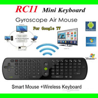 Wholesale RC11 Mini Handheld G Wireless Gyroscope Air Mouse Keyboard Remote Control for PC Notebook Android TV BOX Black DHL