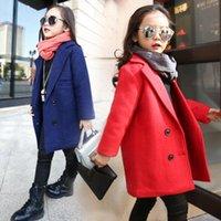 wool fabric coat - New fashion girl wool mixed children s clothing fall winter coat wool woolen cloth coat woollen fabric D