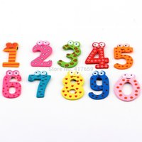 Wholesale 1 Set X mas Gift Set Number Wooden Fridge Magnet Education Learn Cute Kid Baby Toy
