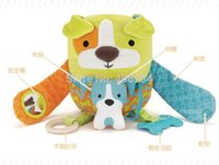 Wholesale Multifunction colorful baby Plush Hug Hide Activity mother and child dog Soft Toy baby stroller toy