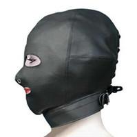 bondage mask - High Quality Leather Bondage Hood Mask Fetish Face Mask Cap Sex Product Toys Sex Slave Game For Adults BDSM Bondage Device