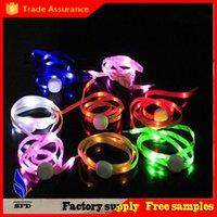 Wholesale LED Lamp beads Flashing Shoe Lace Fiber Optic Shoelace Luminous Shoe Laces Light Up Flash Glowing Shoeslace