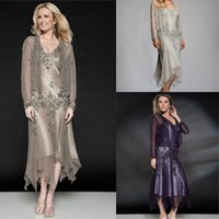 tea length mother of the bride dresses with sleeves - Equisite V neck Mother of the Bride Dresses With Sleeves Jacket Plus Size Women Dress Tea length Embroidery Chiffon Wedding Party Gowns SA15