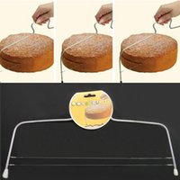 Wholesale baking wire cake cutter stainless steel double line adjustable metal cake cut slicer device decorating mould bakeware kitchen cooking tool