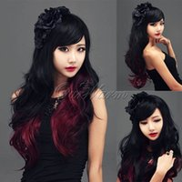 Cheap 80cm 32inch Fashion Sexy Wavy Wig Heat Resistant Curl Long Full Lolita Cosplay Party Hair Wigs Red+Black Wholesales