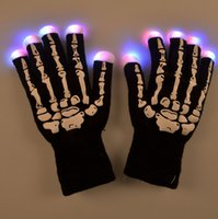 Wholesale 2016 Halloween christmas Skull gloves hot selling LED flash gloves Dancing glow LED gloves Concert noctilucent gloves Flash gifts Free DHL