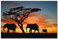 african poster art - Sunset African Elephants Art Silk Poster x36 quot Animals Lanscape Pictures