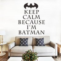 Cheap holding Calm'm Batman quote vinyl wall surface decorated children's wall stickers for children room children decorative paper