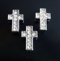 Wholesale 50pcs Clear Full Rhinestone Slider Bead Charms Cross Beads For mm Belt Bracelets DIY Charms