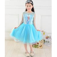 Cheap new 2014 Custom-made Movie Cosplay dress summer girls dress Costume Princess Elsa Dress from Frozen for Children