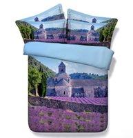 al por mayor púrpura rey edredón azul-Azul púrpura cama edredón de lavanda establece reina super king size edredón edredón cubierta hoja de cama ropa de cama cubre completo doble doble oeste
