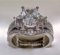 african ladies fashion - SZ5 Fashion jewelry princess cut kt white gold filled GF white topaz CZ Simulated Diamond Wedding Lady women ring set
