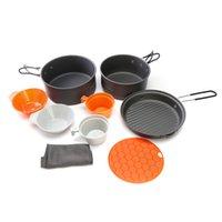 Wholesale Portable Set Outdoor Cooking Set Camping Hiking Picnic Tableware Pot Pan Bowl Cup Cooking Set