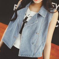 apparel special sizes - American Apparel Autumn New Special Price Loose Plus Size Sleeveless Women Casual Denim Vest Dark Light Blue Color Outwear