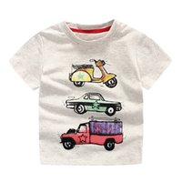 Wholesale Cool boys Car print cotton short sleeve T shirts Quality summer O neck originality t shirts for boy Children knitted clothing Kids chothes
