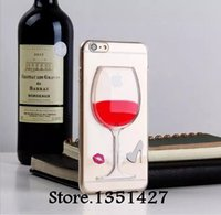 Wholesale New Arrival Liquid Quicksand Red Wine Glass clear transparent Phone Case TPU Back Cover for iPhone Plus for iPhone5 S S