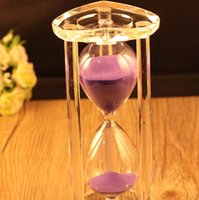 Wholesale Creative Gifts Crystal Hourglass Timer Heart Shaped Minutes Violet