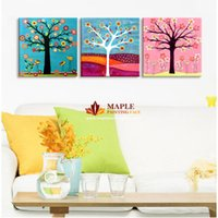 More Panel Digital printing Fashion Free shipping 3 pieces Abstract colour of Money tree Fine Art Abstract painting printed on canvas for decorating for living room