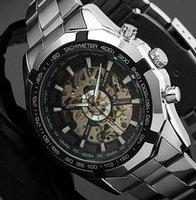 Wholesale 2015 NEW Steampunk Clock Mens Stainless Steel Automatic Mechanical Men Wrist Watch Brand Winner Skeleton Mechanical Watch