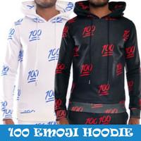 Emojis roupas Preços-w1213 Raisevern novo 2015 Emoji capuz para o menino dos homens 100 emoticons preto hoodies brancos esporte camisola roupa ao ar livre roupa
