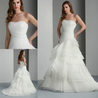 Wholesale Fabulous Strapless Bodice Mermaid Wedding Dresses Tiered Ruffle Court Floor Length Organza Wedding Dress Bridal Gowns Made In China HDY