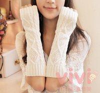 Wholesale 7color Fashion Women Mens Knit Crochet Long Fingerless Winter Gloves Arm Warmer Mitten