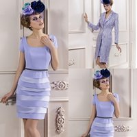Cheap Sexy Custom Made Tea Length Light Purple Mother Bride Dresses Jackets Knee For Weddings Jackets Formal Mother Dress For Weddings
