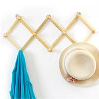 Wholesale Expandable Solid Wooden Coat Hanger Peg Keys Hat Towel Clothes Robe Rack Hat Closet Wall Mount Hook Fold