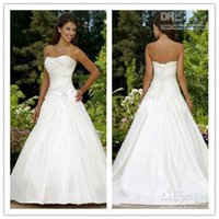Wholesale Custom Made sexy modest A Lline strapless court train satin beaded corset Wedding Dresses gowns Free gift meters of the veil
